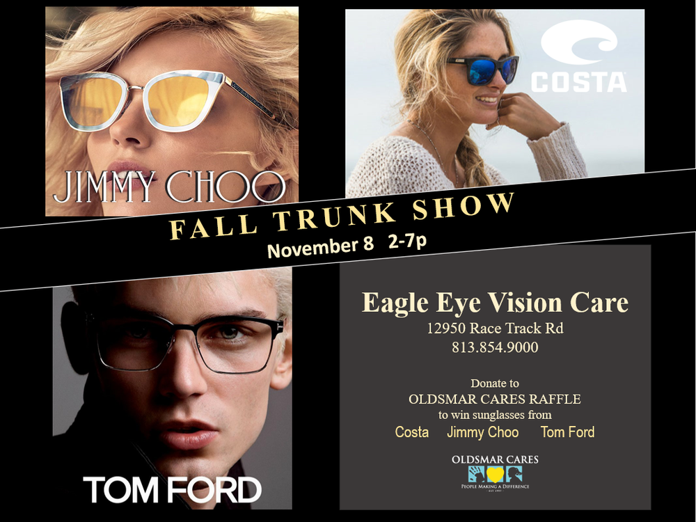 Save the Date and join Eagle Eye Vision Care as we host our Fall Trunk Show on 11/08/2018. 30% off complete pairs of prescription glasses and sunglasses.