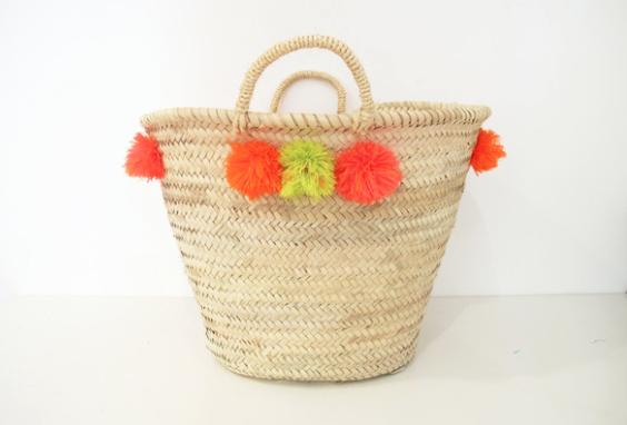 """Pom Pom Basket, 17"""", Amber Interiors Shoppe"""