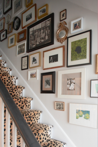 Gates' famous leopard print stairwell she designed for her own house.