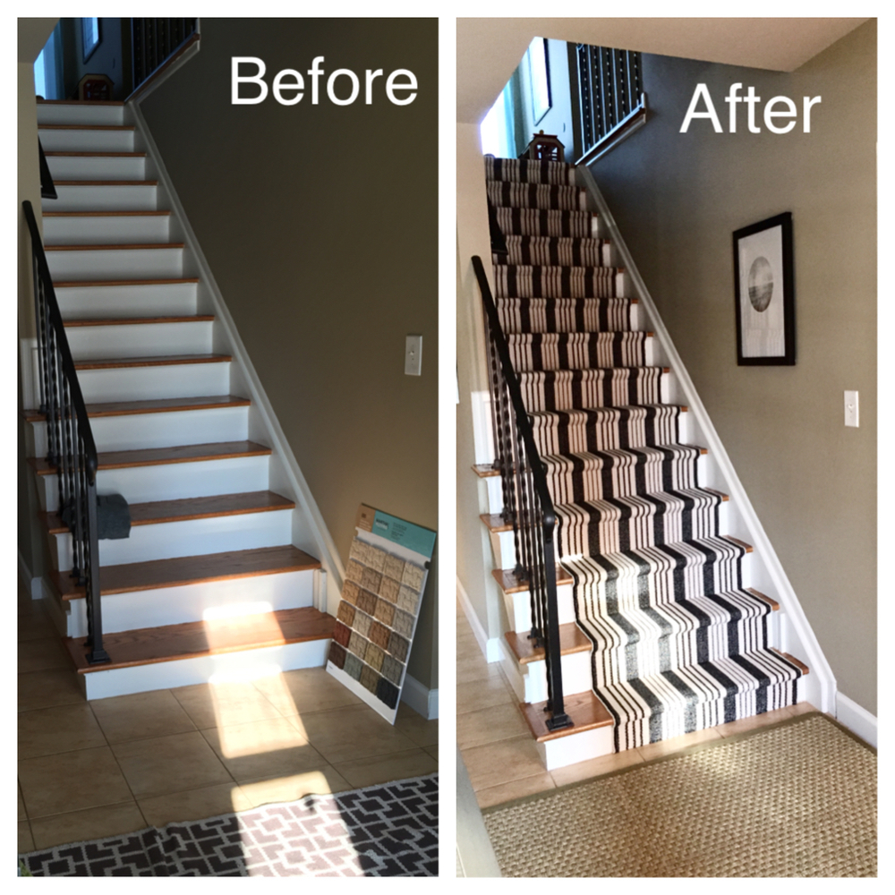 Before / After DIY Stair Runner