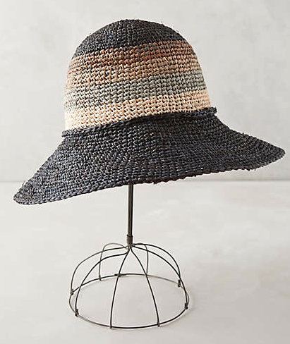 Straw beach hat A must. I cover my face at all times. I like these that you can just squish up and put in your bag. Even when they're all wet and sandy, they still hold their shape.