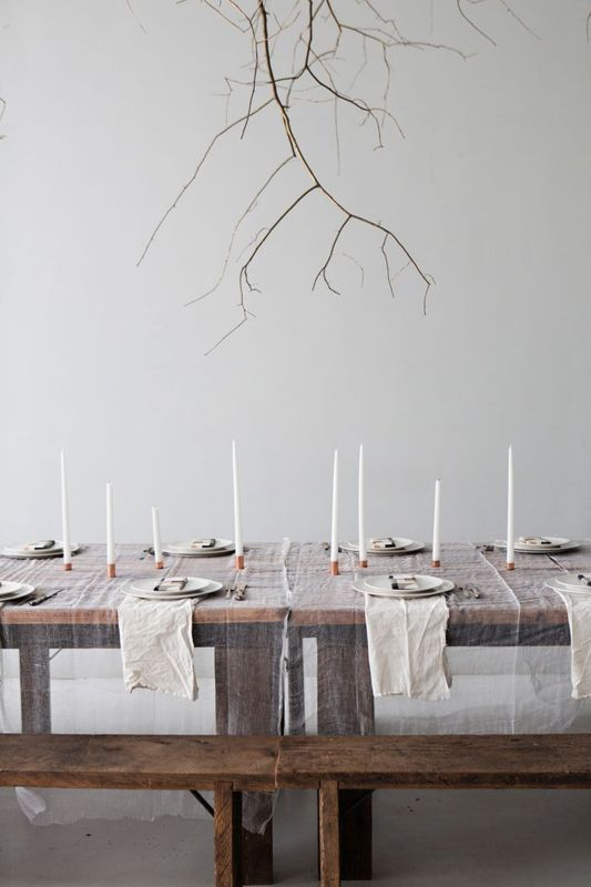 "Definitely a statement with the sheer tablecloth and muted, modern tones.   Tell me about your ideas for your Thanksgiving table! Post pictures or send them in! I know you all have some amazingly creative ideas!! Today I'm thankful for this holiday itself, a time to gather as a family and celebrate love, acceptance, and kindness. As my son says, ""it's a feast!"" (although he doesn't like turkey and probably eats about 6 bites of mostly bread). Enjoy your feast, in whatever way it may be served. XO Anna"