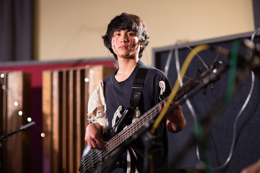 "Jed Lingat    Jed Lingat plays bass and has a warrior's heart.  When he plays, people fan him off with their hands and say ""woo.""  Jed brings soulful groove to even the zaniest passages."