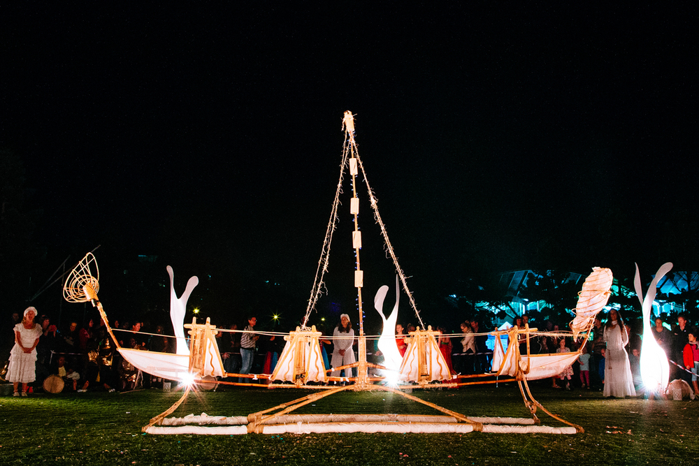 Canoe sits in the centre of the dance space for the Gathering of the City: Geelong Connected Communities ceremony.  Image by Ed Sloane Photography.