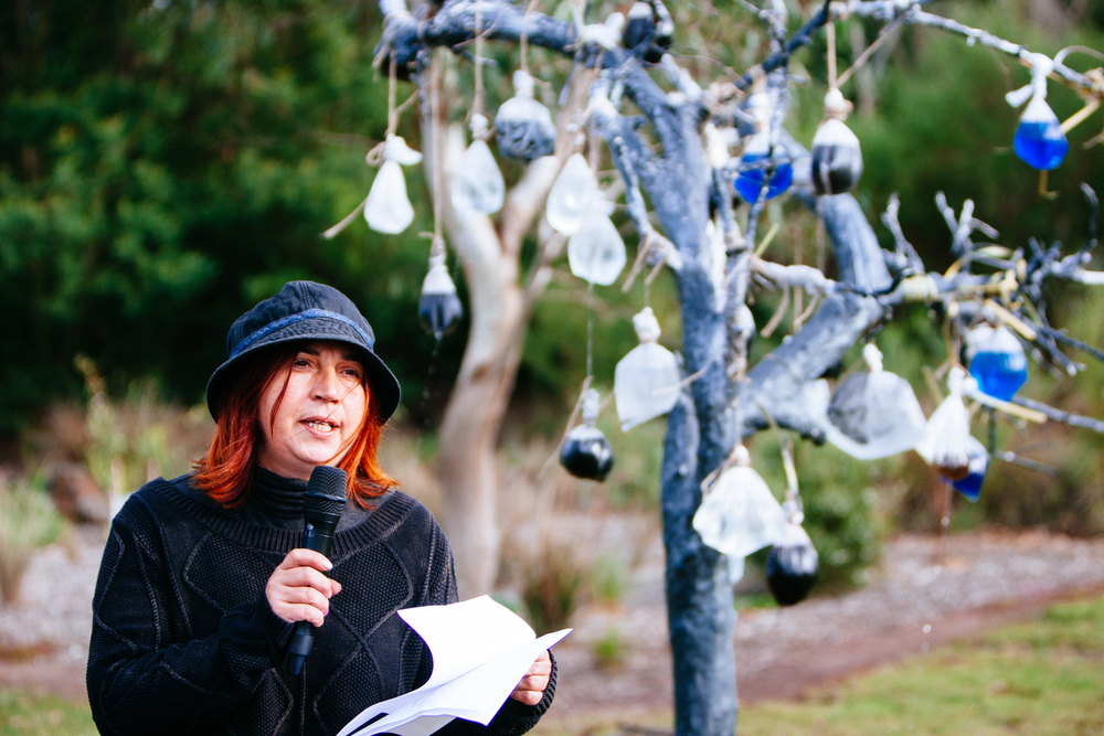 Mirjana Margetic speaking about her installation at Christies Rd.   Image by Dean Walters Photography.