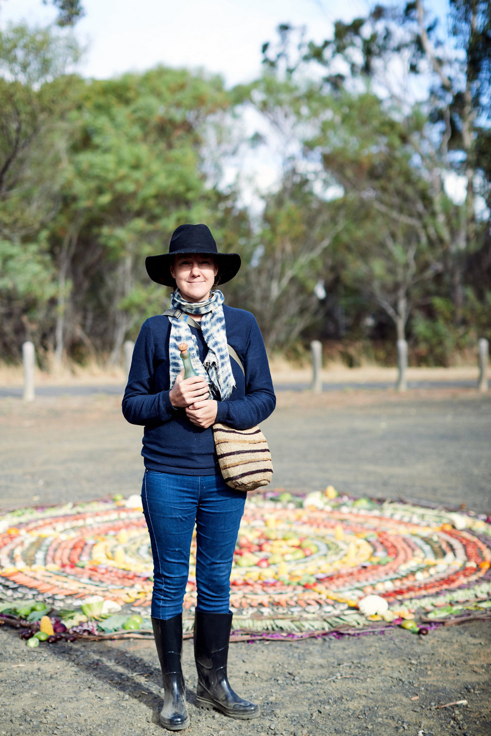 Artist Emma Anna at her walking circle at station 2; Photographer: Ed Sloane