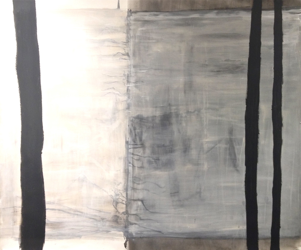 Black and White 4, 2012 Acrylic, Gesso, Ink and Oil Stick on Paper (30 x 40) .jpg