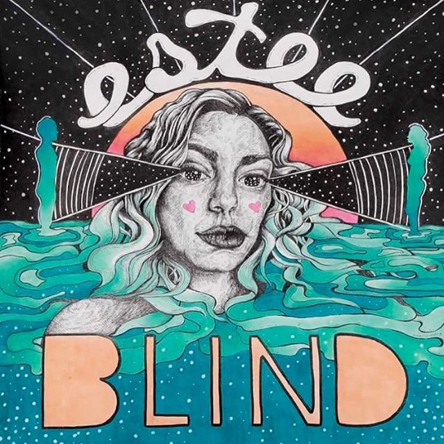 "Cover art by me for the talented @esteemusic's new song, ""Blind,"" available everywhere August 25 ⚡️ . This project marks the first time in years that I've delved into color! Blending with #copic markers is a beautiful thing. Here's to exploration."