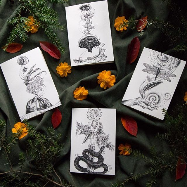 𓇣 𓇣 𓇣 𓇣 The Elements Cards are now live in my online shop! ▴ There's Earth for grounding, Air for connecting with spirit, Water for flowing with change, and Fire for creative transformation. Interpret your cards however you wish- Send them with messages to friends and lovers, or keep them in your sacred space! ▴ They are printed here in AVL on warm white, archival 100-weight paper. Blank inside for messages and intentions; Envelopes included. Made with love + magic. ▴ $5 each + shipping; Link in bio. OR come visit me at The Goblin Market @hawkandhawthorne tomorrow (Saturday, November 3) from 1-5pm ࿓
