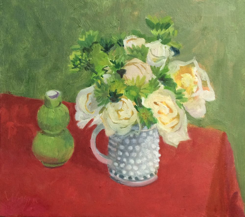Hobnail Pitcher with Roses and Mums