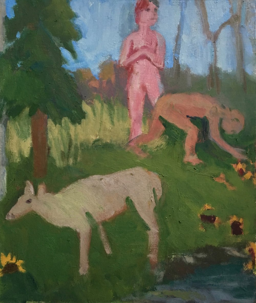 Landscape with Figures and a Female Moose