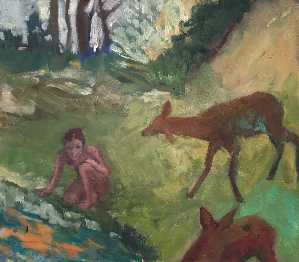 Two Deer and a Figure