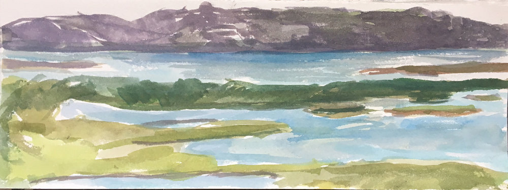 Cleendra, Dungloe, Donegal: Tide In 4 1/2 x 12 1/8 watercolor