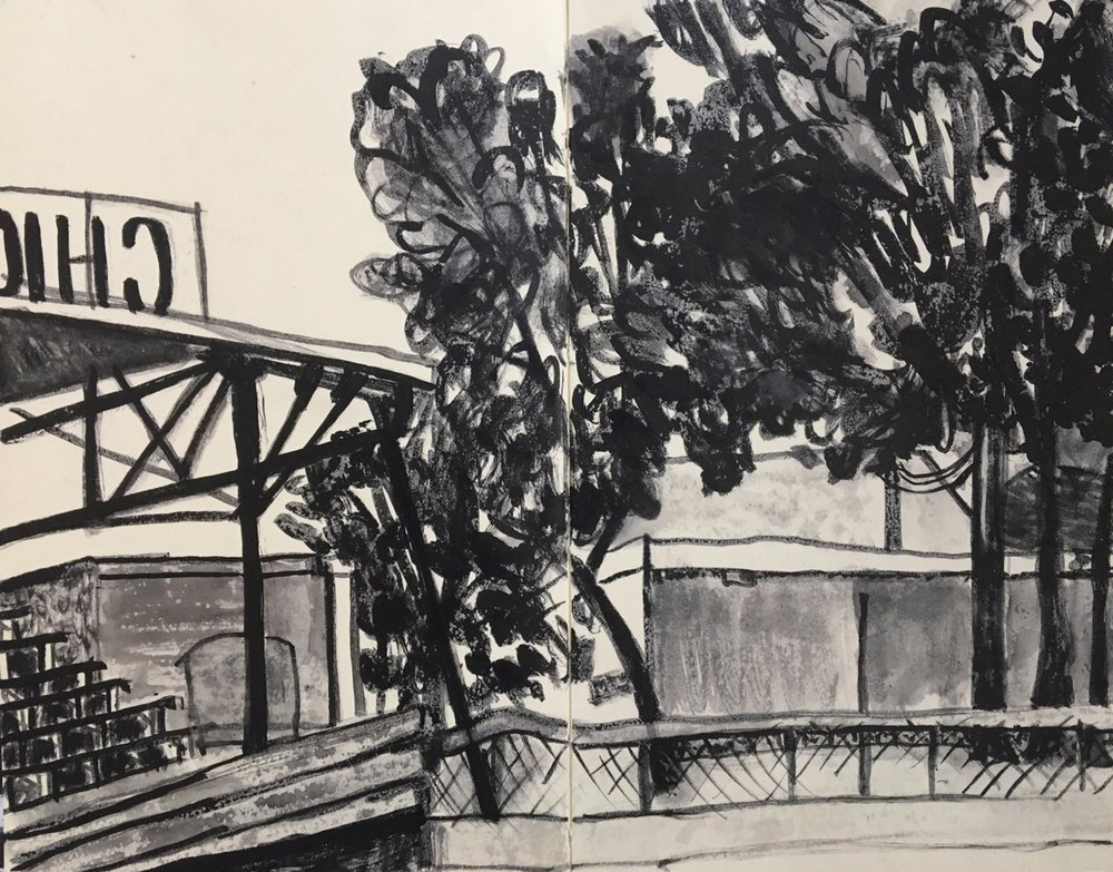 Trees and Baseball Stands, Chicago