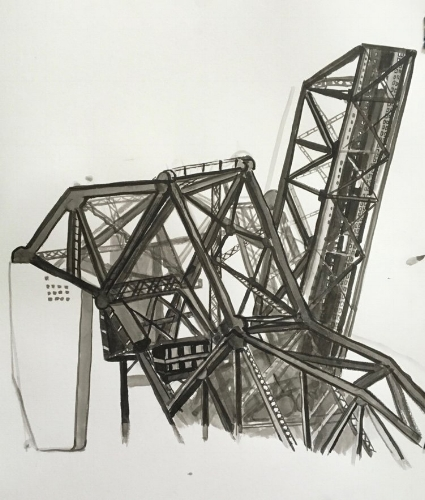 Railroad Bridges, 21 x 18 Inches, Ink, 2016