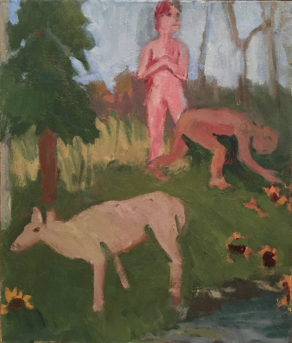 2 Figures with Female Moose, 2016