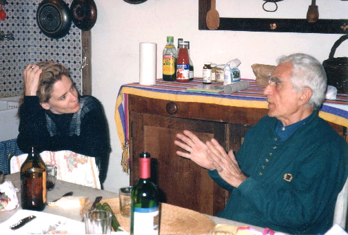 Williamson in talks with mentor, Nicolas Carone at his home in Italy in May 1992. Carone is best know as an Abstract Expressionist painter, a seminal teacher at the New York Studio School, and for co-founding The International School of Art in Umbria, Italy.