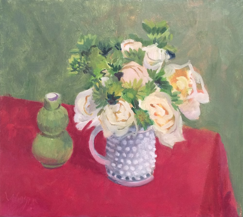 Roses with Hobnail Vase