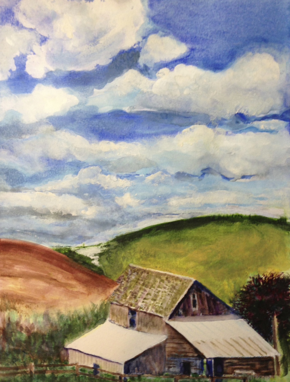 Idaho barns and sky, watercolor, by George Porter