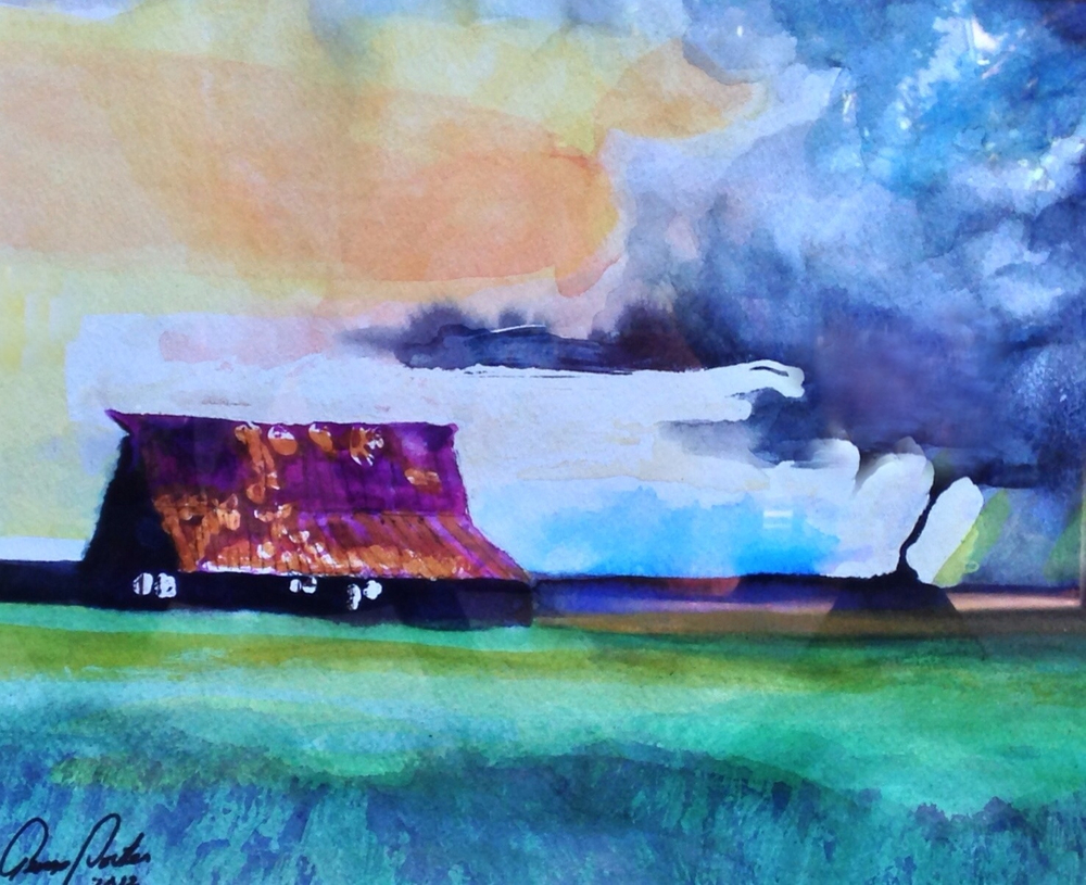 impending storm, watercolor