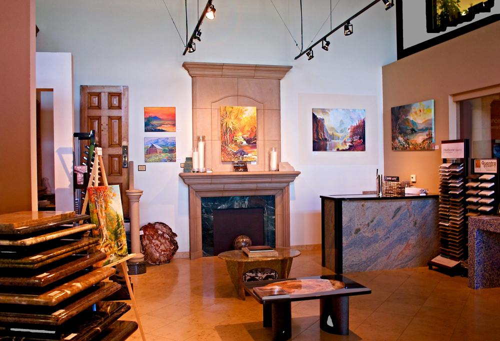 Main Gallery at Stone Center with Paintings by George Porter Fine Art