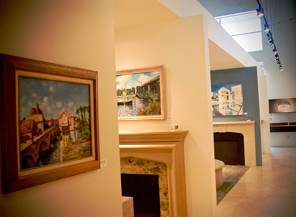 Gallery Showrooms at Stone Center Inc with Paintings by George Porter