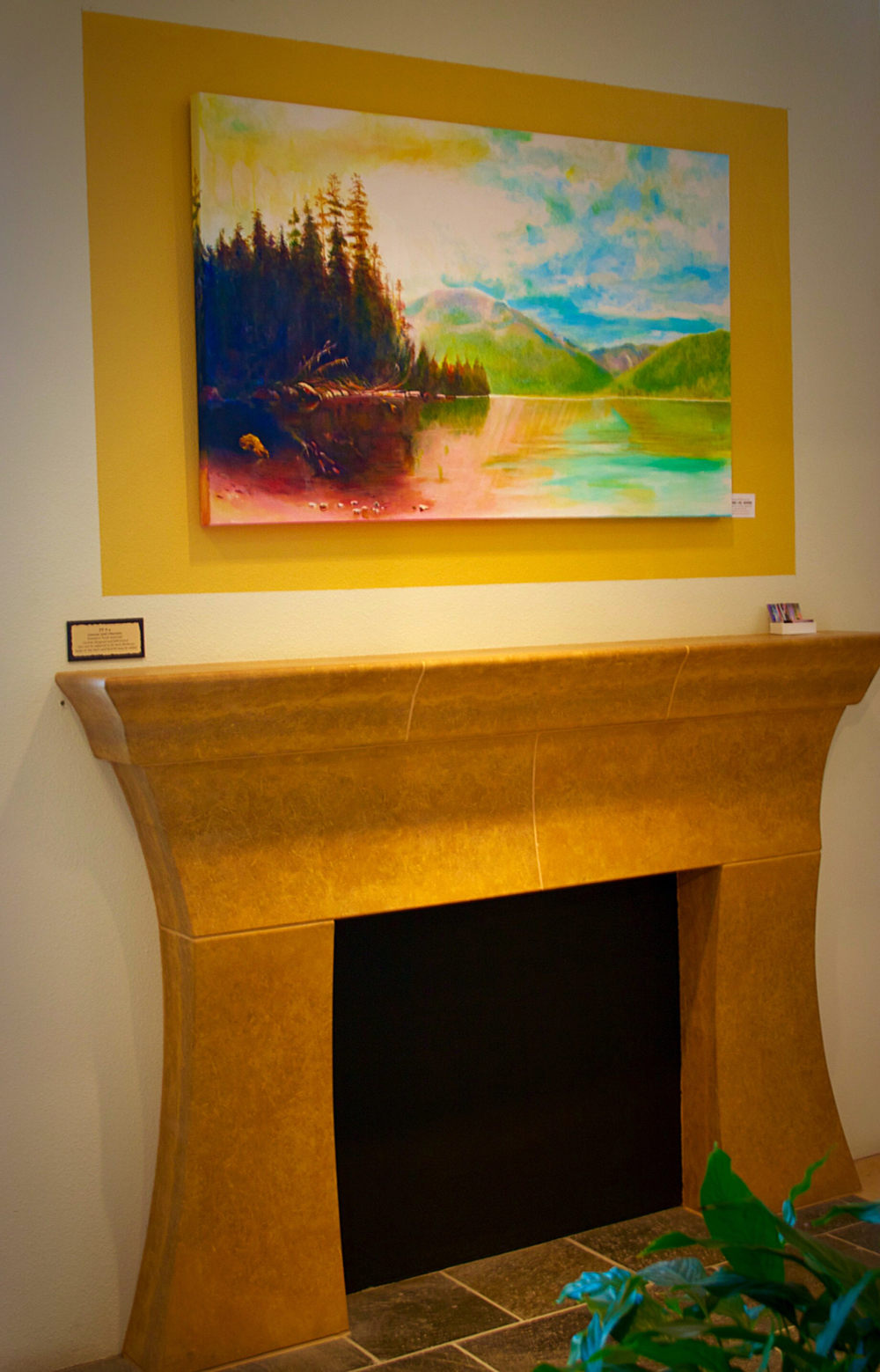 Saranac Lake, Morning study by George Porter above a Custom Limestone Fireplace