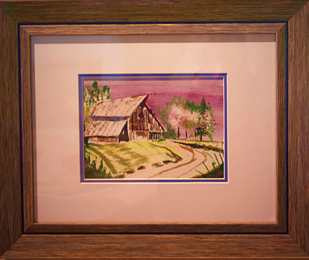 Barn at Sunset an original watercolor by George Porter at Stone Center Inc