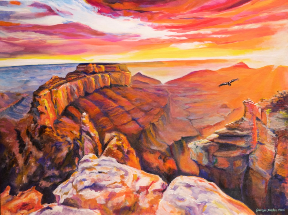 Canyon Lights, acrylic on canvas by George Porter