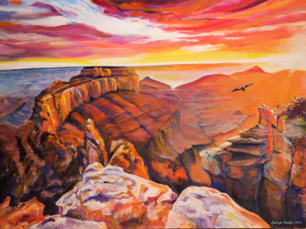 Canyon Lights, acrylic on canvas