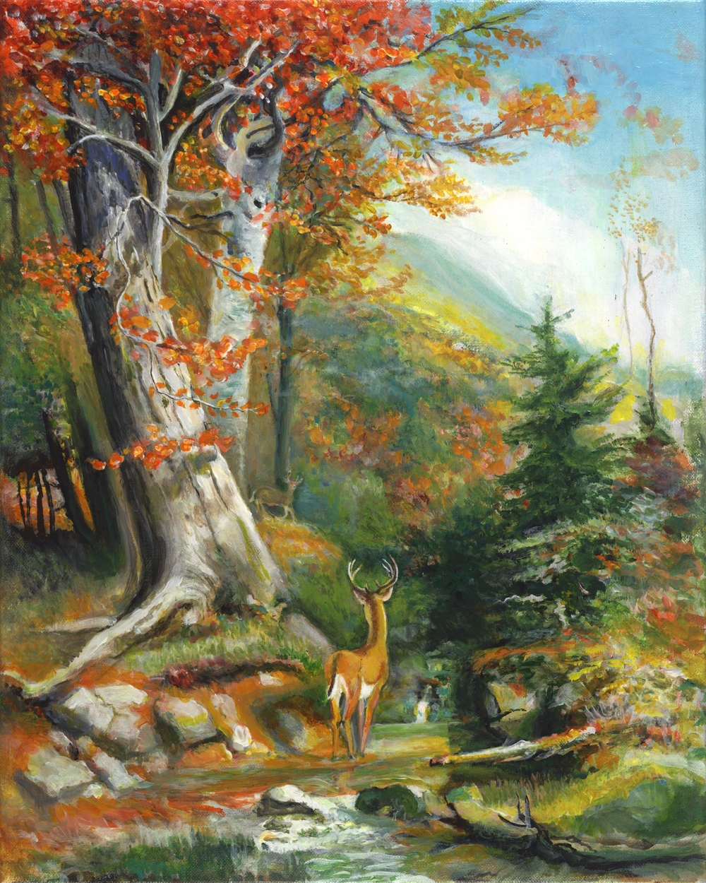 Mountain Stream and Deer by George Porter after CH Beard
