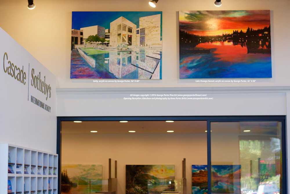 Main Reception at Cascade Sotheby's Lake Oswego with paintings by George Porter