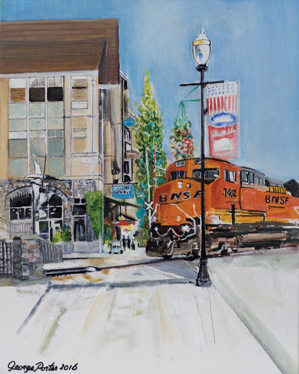 BNSF 7402 acrylic on canvas by George Porter