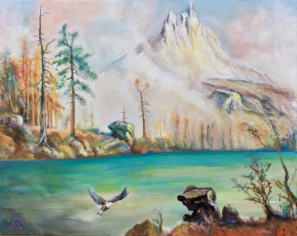 Mountain Lake after Albert Bierstadt