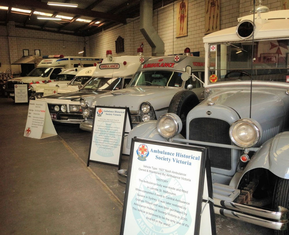 Just some of the ambulances at the Ambulance Victoria Historical Society Museum in Thomastown