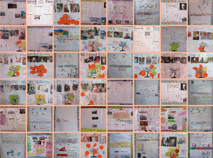 A tapestry of local and family history posters produced by the students of Tallarook Primary School