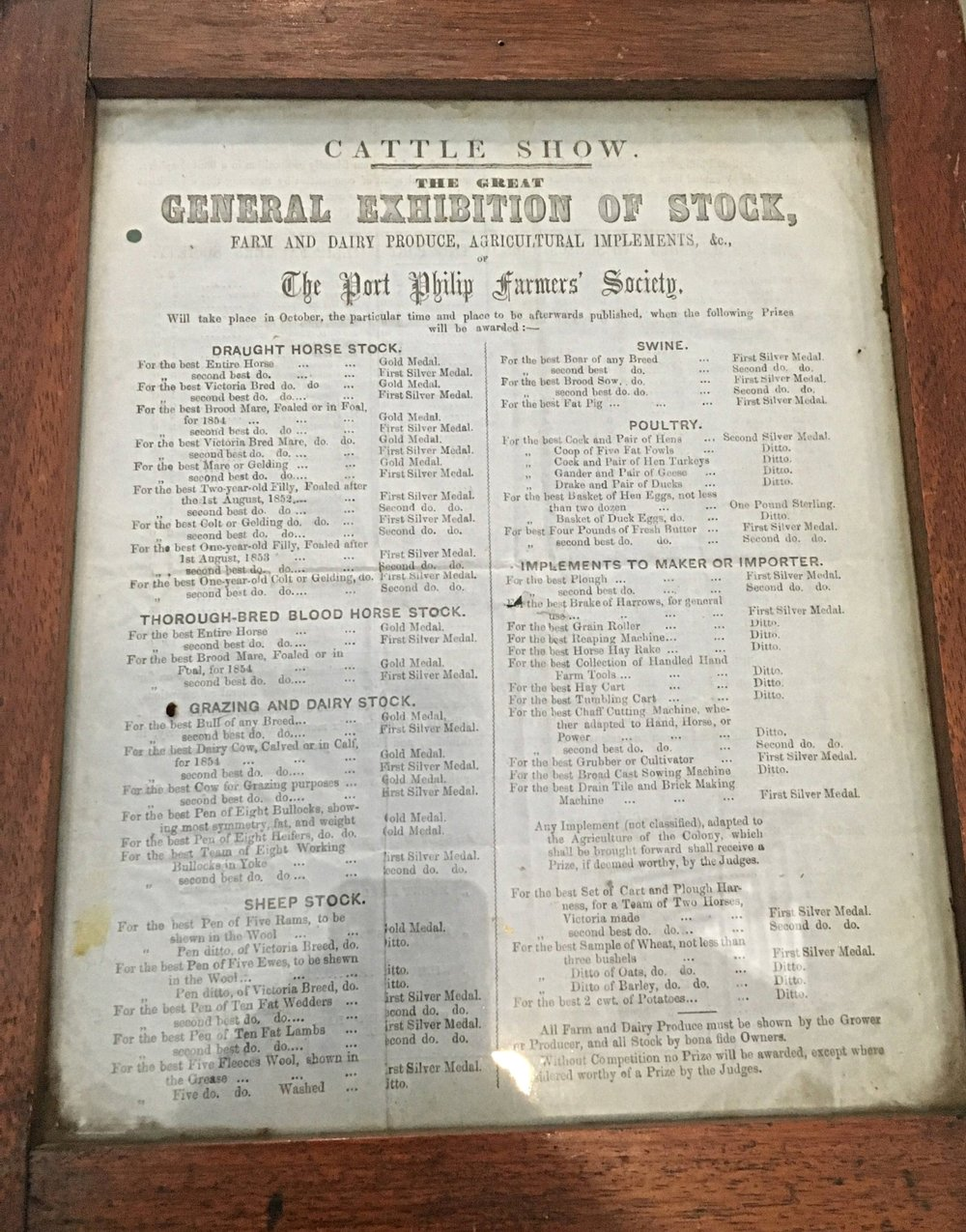 1848 Port Phillip Farmers' Society  The Great General Exhibition of Stock