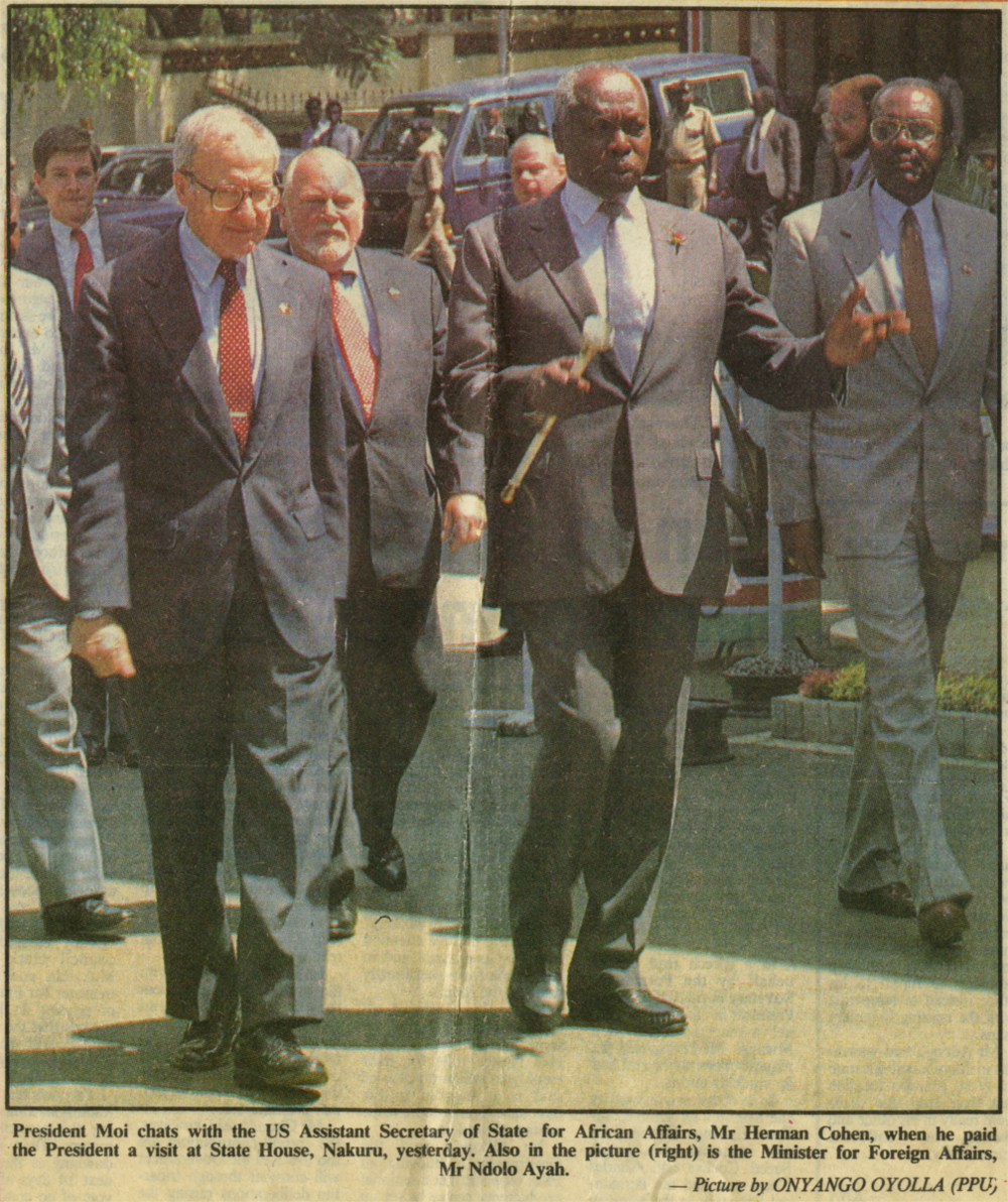 With President Arap Moi of Kenya, 1990.