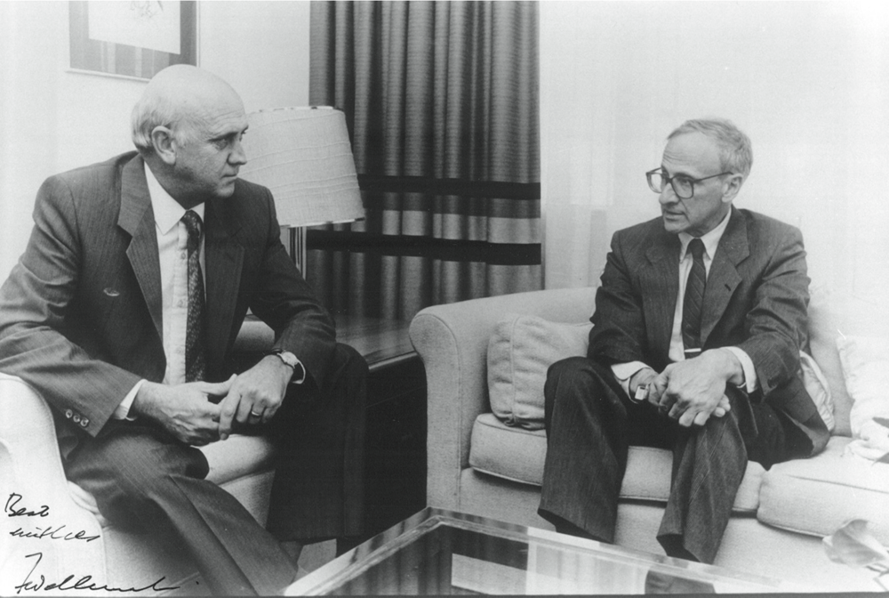 With F.W. de Klerk in May 1990.