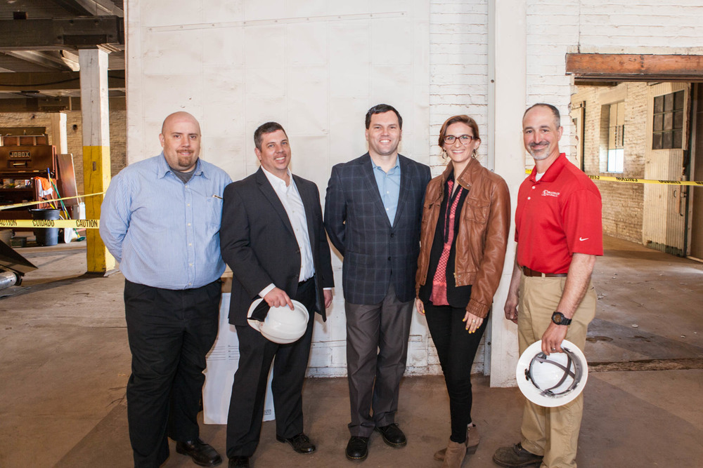 McDonald Building Company Beech Street Factory Project Team from left to right: Brian Blickos-Project Engineer; Keith Hart-Project Manager; Brad Springer- Lead Estimator; Michelle Nichols - Project Coordinator; and Vince Scatamacchia - Project Superintendent