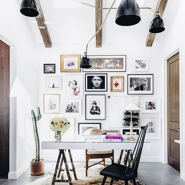 Completely swooning over the office of @chefludo & @frenchchefwife designed by @marieflaniganinteriors ! Wood beams, gallery wall, natural finishes ABSOLUTELY my vibe...🌻 (repost from @elledecor)