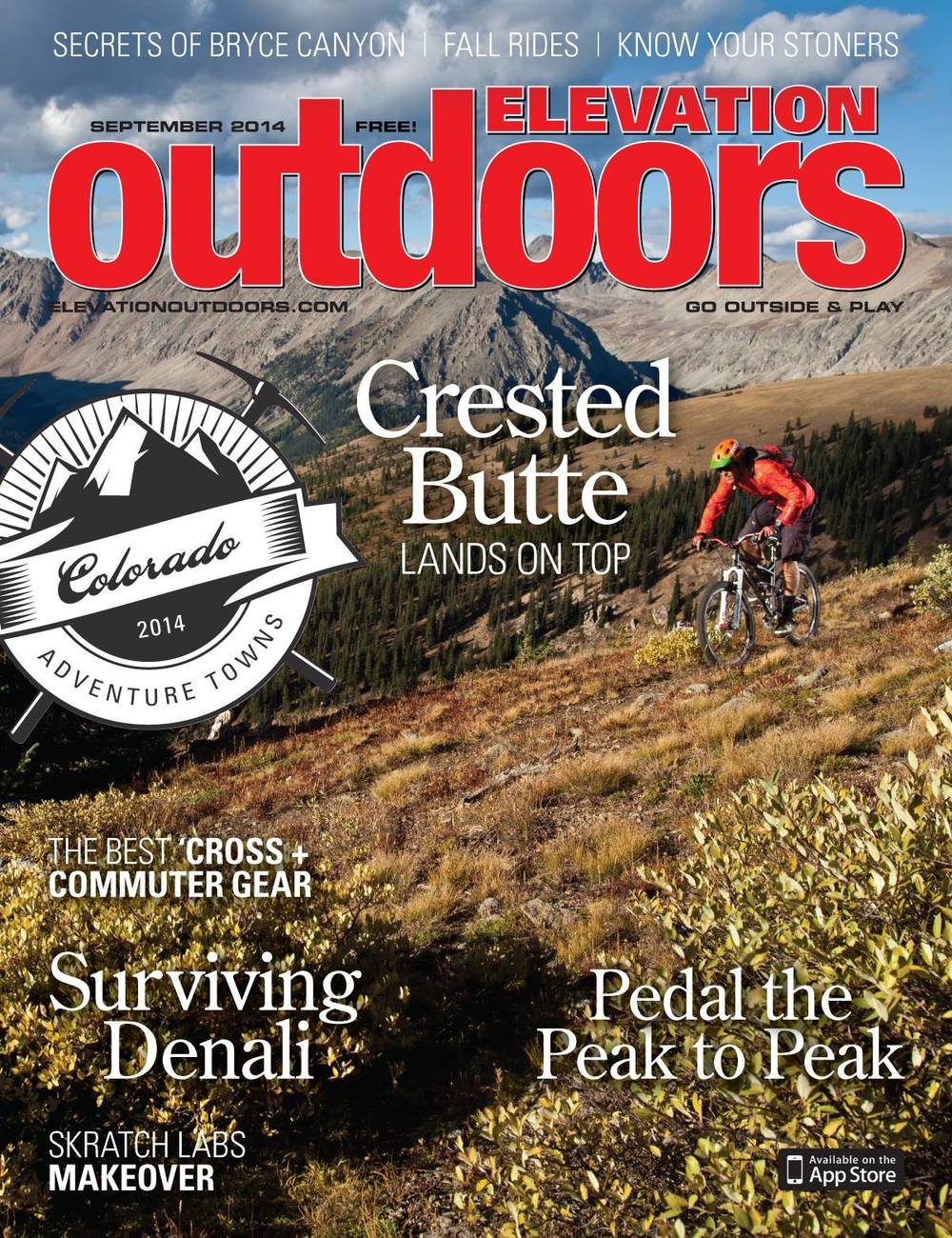 September Issue of Elevation Outdoors Magazine- cover image Brian Buell near Crested Butte, CO