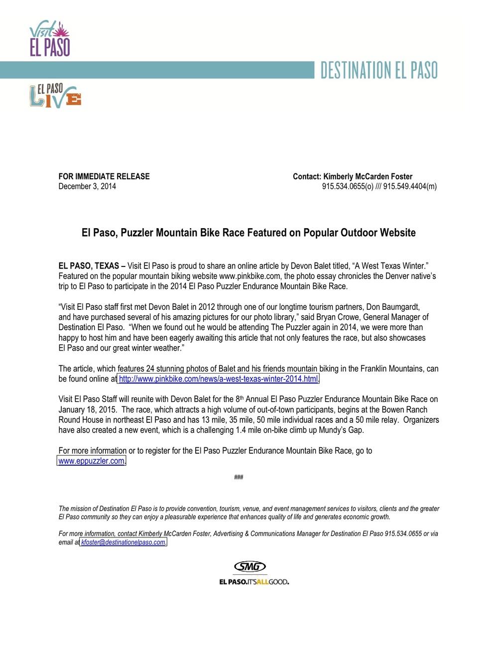 Visit El Paso Newsletter