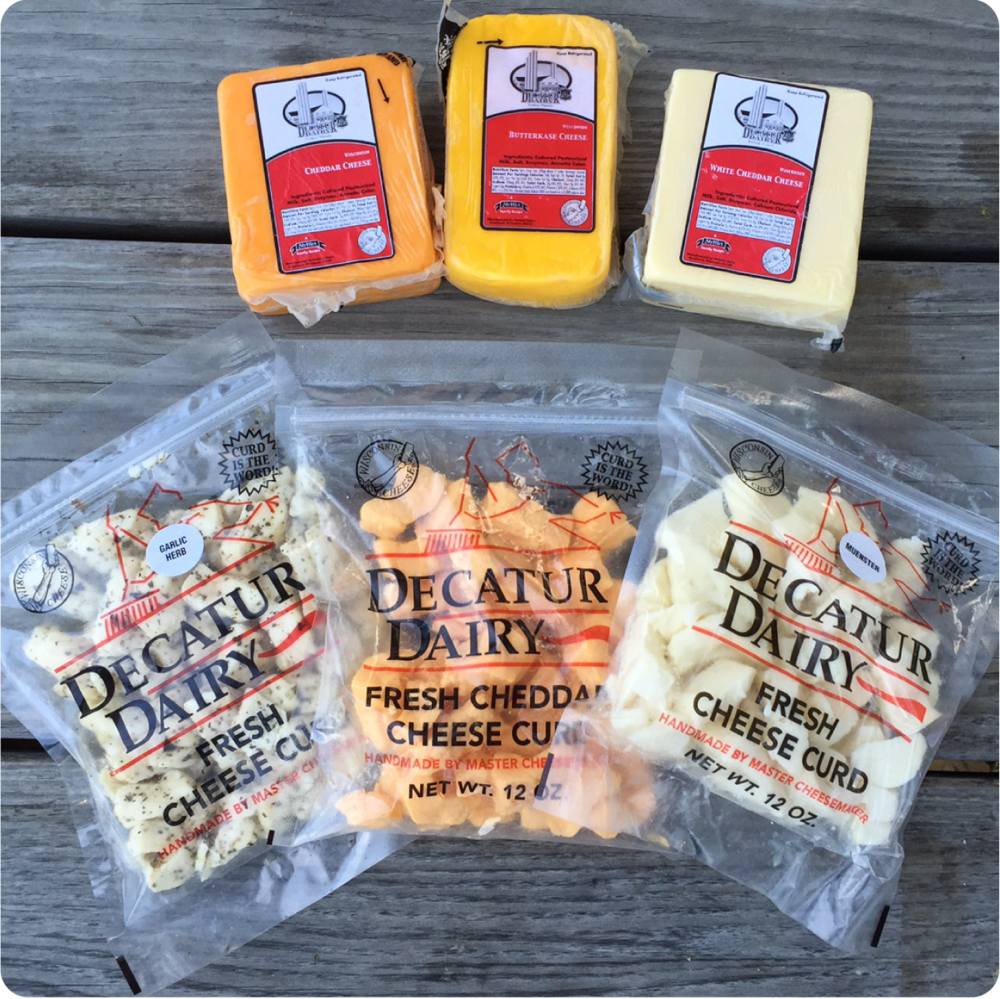 WISCONSIN CHEESE...We carry cheese too. Pick up some cheddar, monterey  jack or cheese curds.