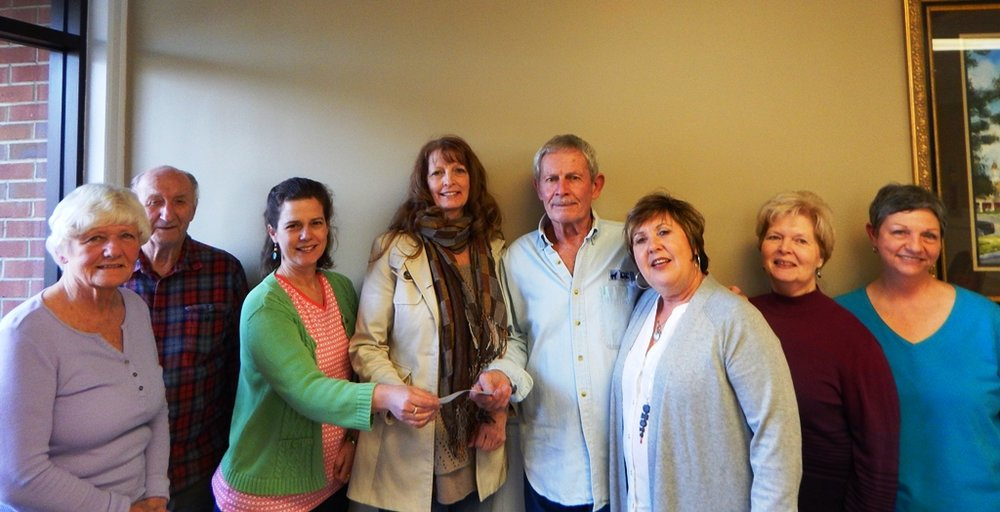 2017 Presentation to Woody Gap School, Suches, GA. for art supplies.  Left to right Helena Grossmann, Bob Scoda, Co Principals, Carol Knight and Sheila Collins, Paul Grossmann, Robin Bird Smith, Linda Karmgard and Brenda Chambers.