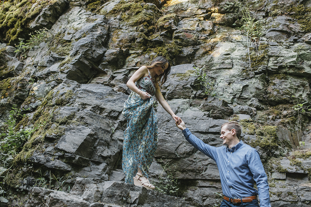 Latourell Falls Engagement Photos by Alixann Loosle