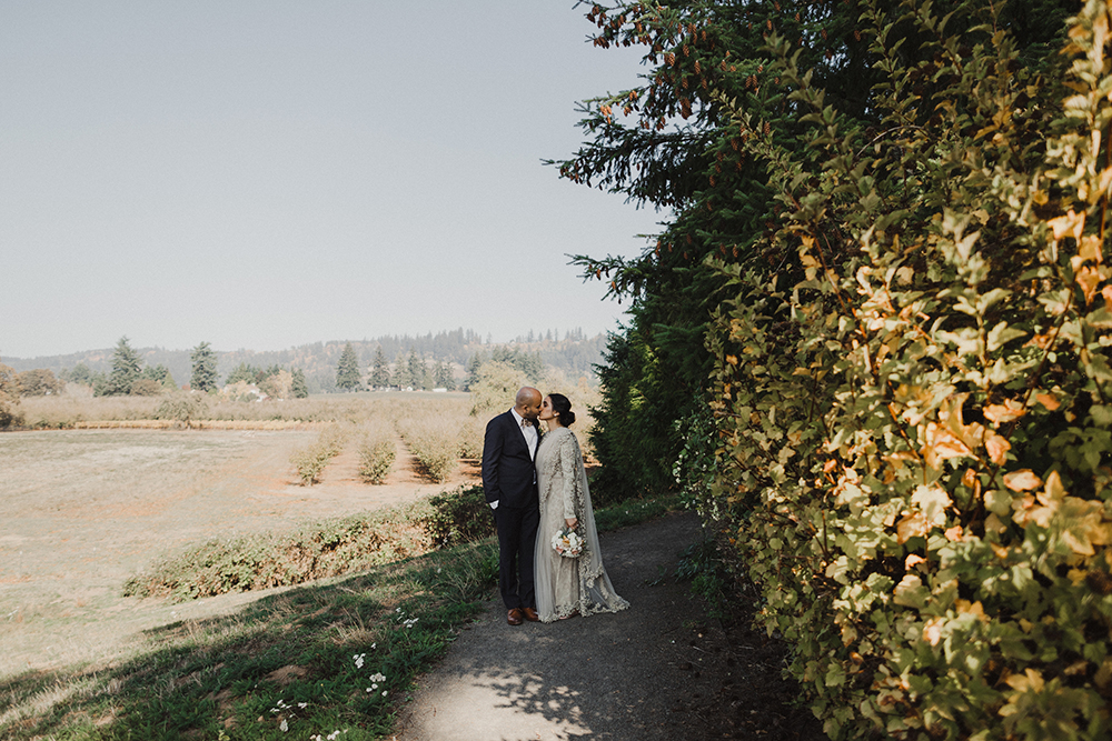 Background vineyard view with couple