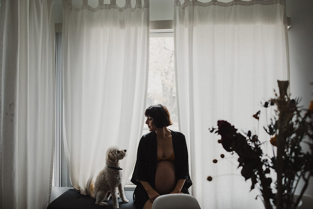 pregnant woman sitting in window looking at dog
