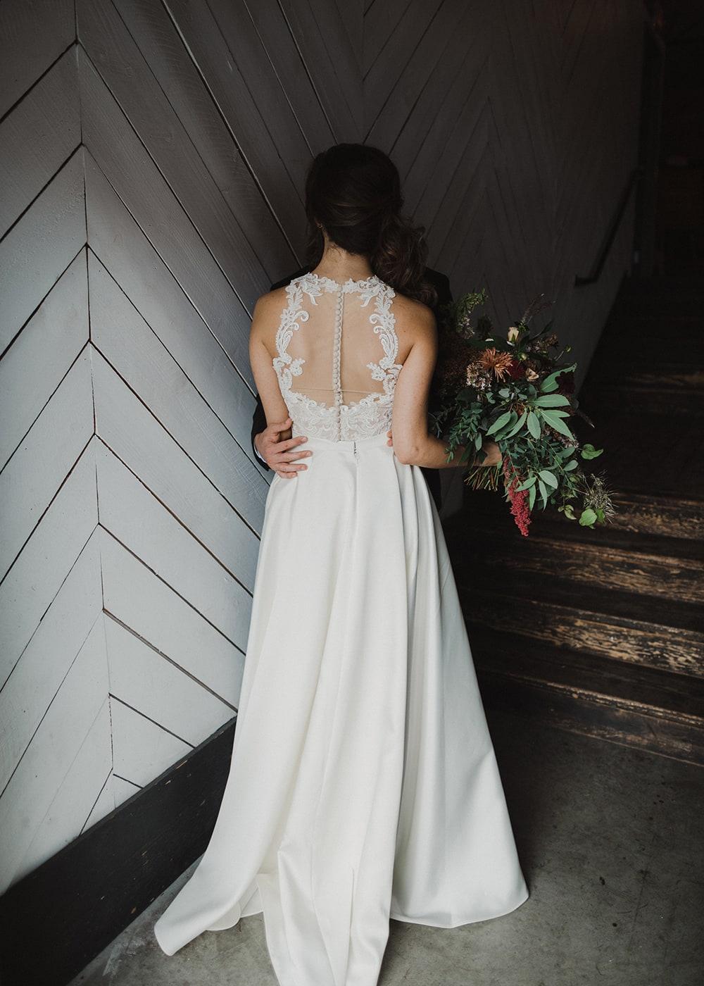 back of bride's dress in sunlight