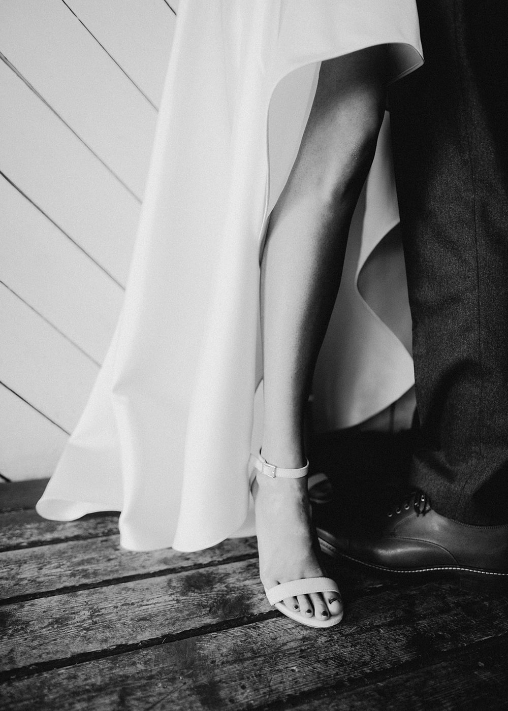 bride's shoes with wedding dress